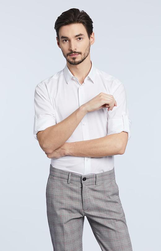 Elegancka koszula, kołnierz kryty button down