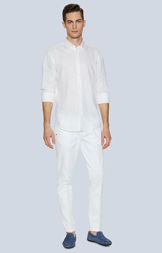 Koszula z lnu z kołnierzem kryte button-down