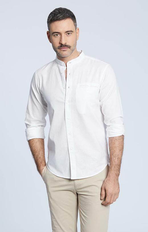 Luźna koszula z kieszonką na piersi