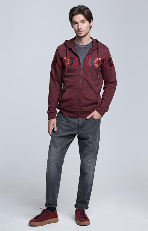 Rozpinana bluza z kapturem z haftowanym wzorem