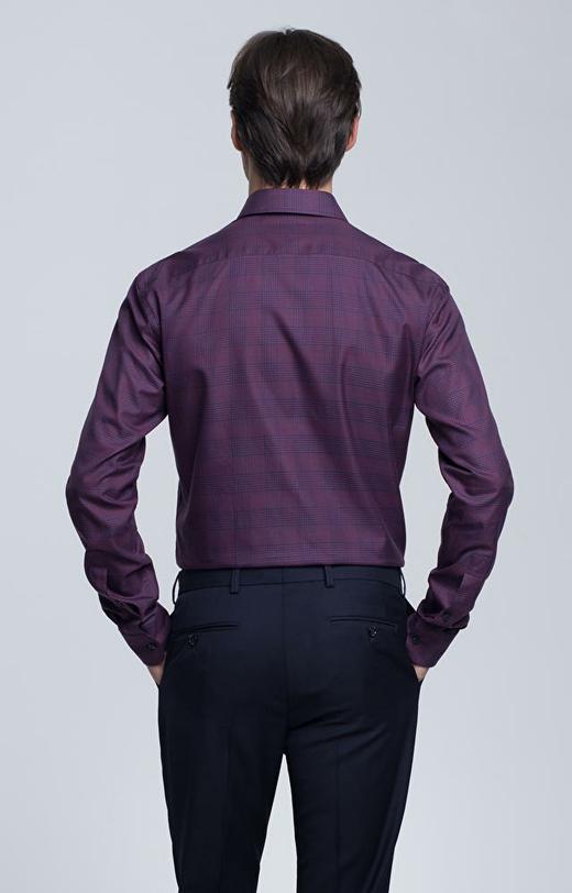 Koszula w kratę, kołnierz kryte button-down