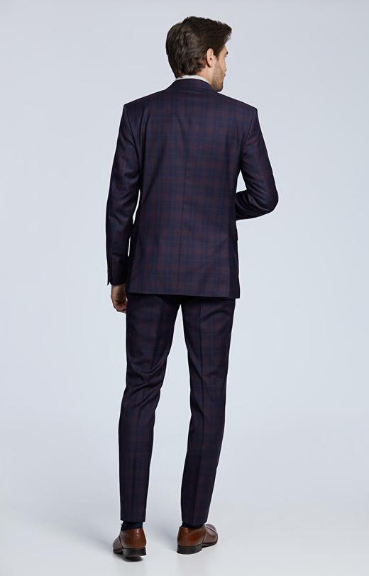 Dopasowany garnitur z tkaniny wełnianej w kratę