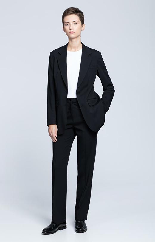 Wełniane spodnie damskie z prostą nogawką