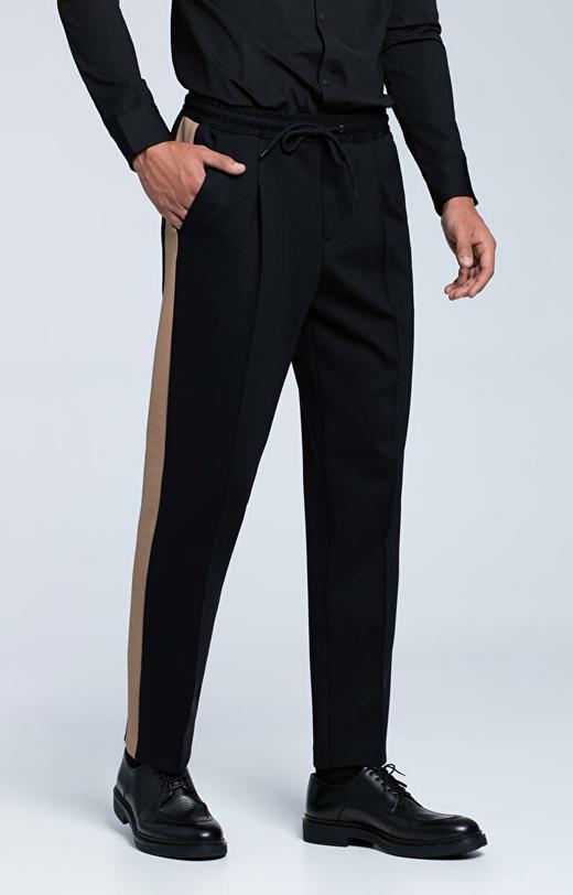 Spodnie z mięsistej dzianiny, z lampasami