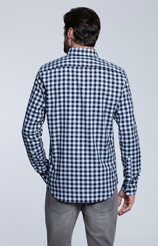 Dopasowana koszula w kratę, kołnierz kryte button-down