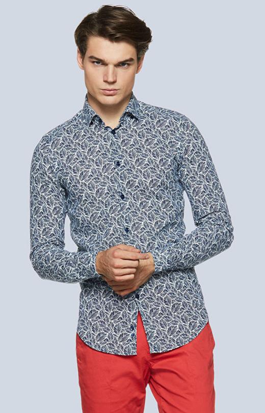 Dopasowana koszula z lnu i bawełny w print, kołnierz kryte button-down