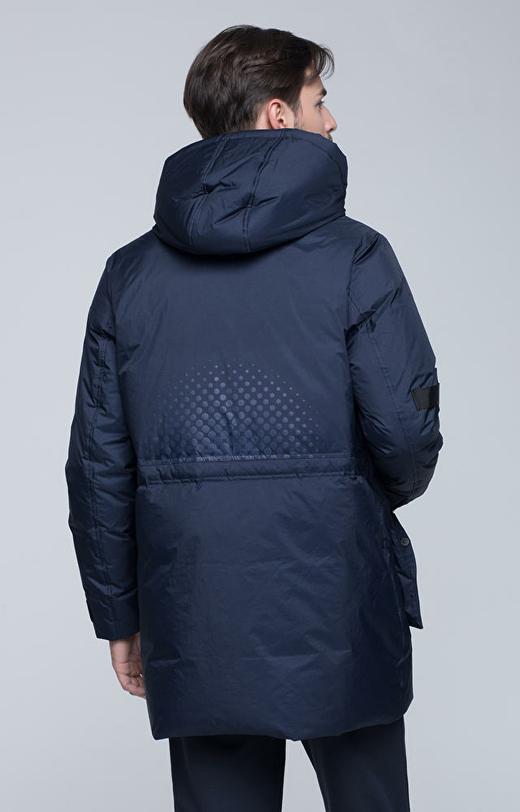 Dłuższa kurtka puchowa z kapturem i logo