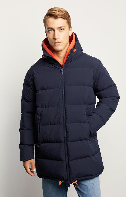 Pikowana długa kurtka z kapturem