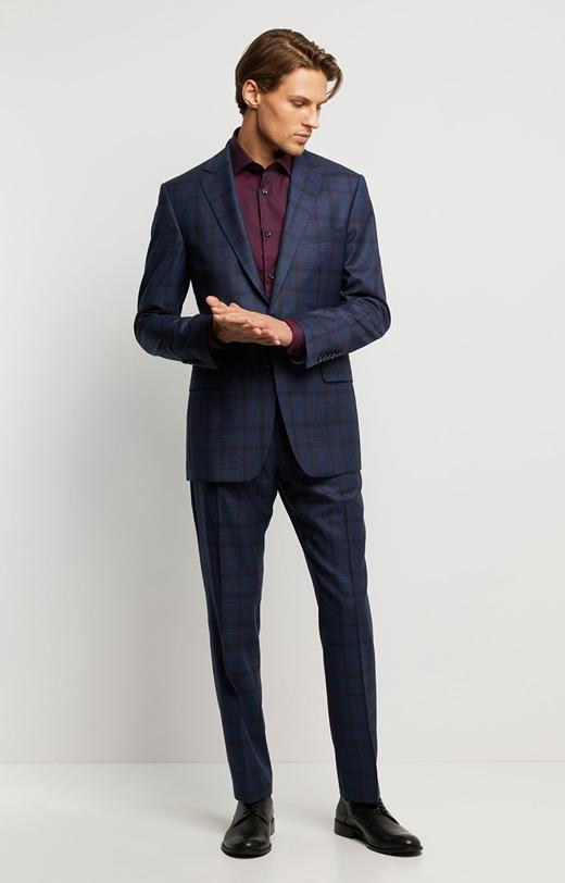 Wełniany garnitur w kratę