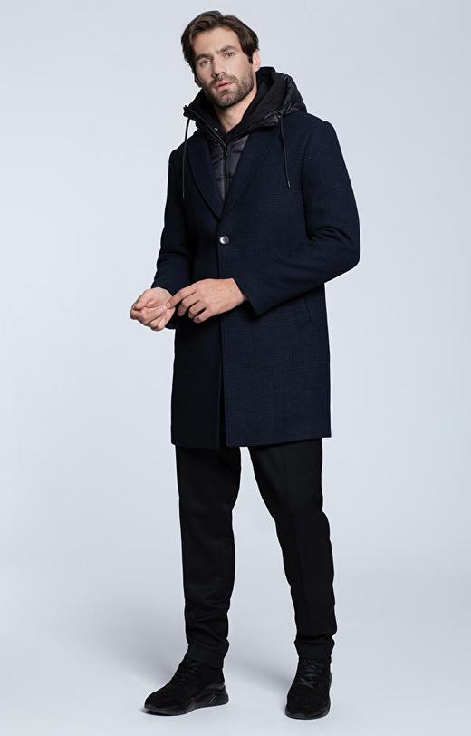Płaszcz  w kratę z dodatkową ociepliną z kapturem
