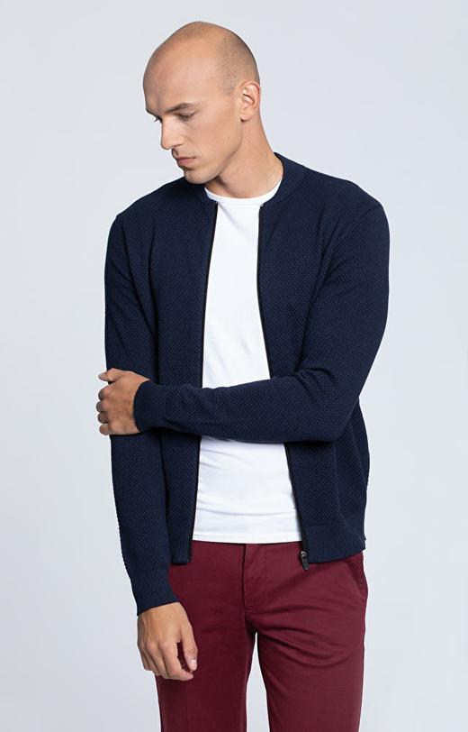 Rozpinany sweter z dzianiny o wyraźnym splocie, z dodatkiem kaszmiru