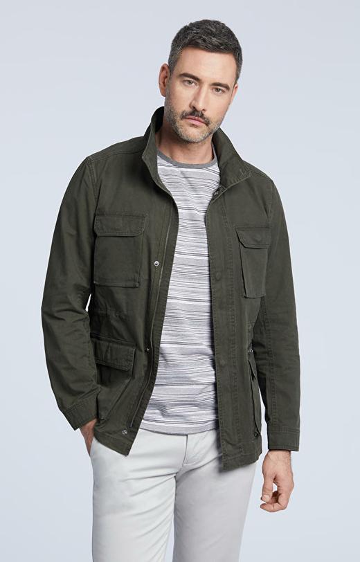 Bawełniana kurtka z nakładanymi kieszeniami