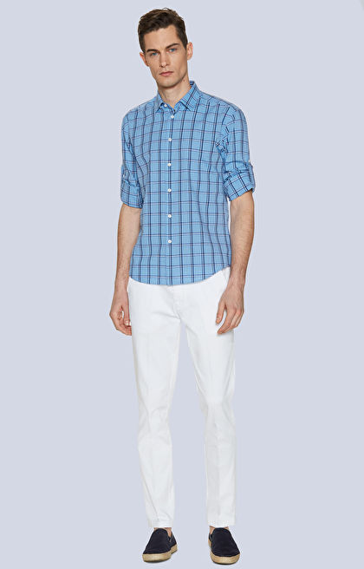 Koszula z bawełny z dodatkiem lnu, kołnierz kryte button-down