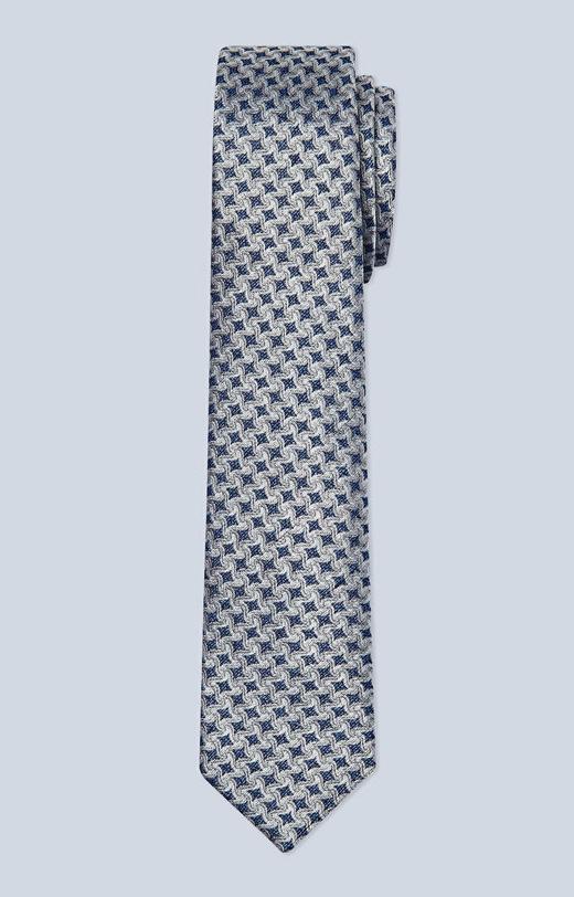 Jedwabny krawat z dodatkiem lnu i bawełny