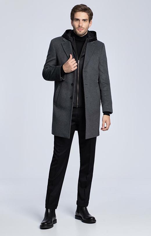 Wełniany płaszcz z dodatkiem kaszmiru, z odpinaną podpinką z kapturem
