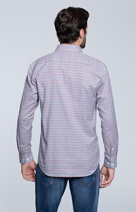 Luźna koszula w kratę, włoski kołnierz